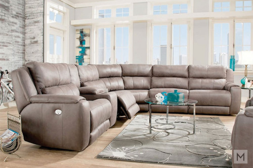 M Collection Dazzle 6 Piece Power Reclining Sectional with Power Headrest and Recline
