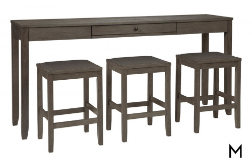 Counter Height 4-Piece Sofa Table Set with Three Stools
