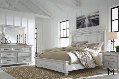 Kanwyn Queen 4 Piece Bedroom Set with Queen Panel Bed, Dresser, Mirror and Nightstand