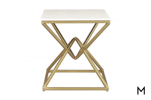 Pyramid End Table with Marble Top