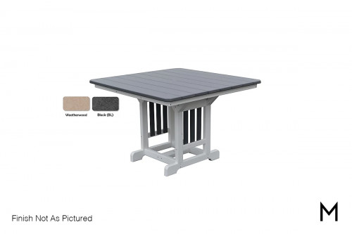 Patio Dining Table in Weatherwood and Black