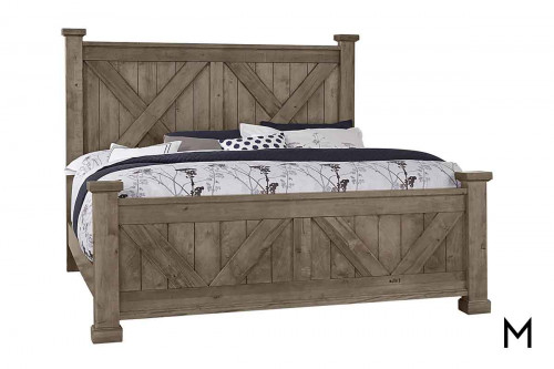 Rustic Barnwood King Bed in Stone Gray