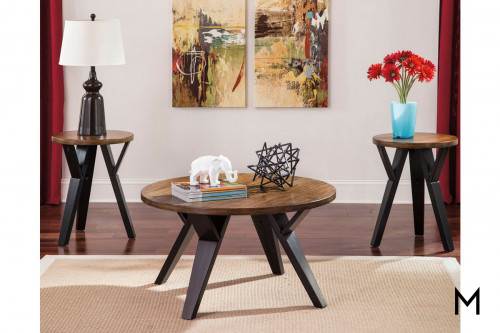 Ingel 3 Piece Coffee and End Table Set in Two-Tone Brown