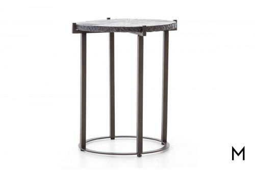 Whistler End Table made of Metal with Faux Bois Details