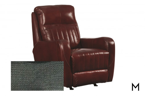 M Collection Race Track Rocker Recliner in Fineline Charcoal