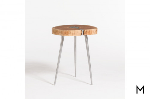 Vail Molten End Table with Aluminum Fill