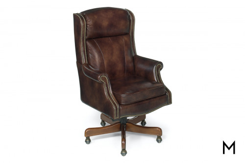 Leather Desk Chair with Nailhead Trim & Tufted Back