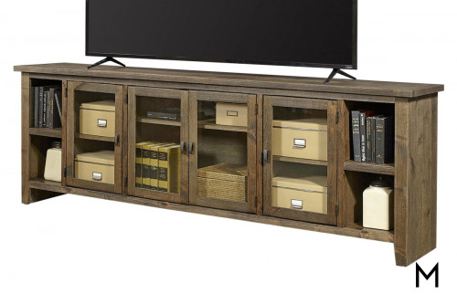 "Alder 4 Door 97"" TV Console in Brindle Finish"