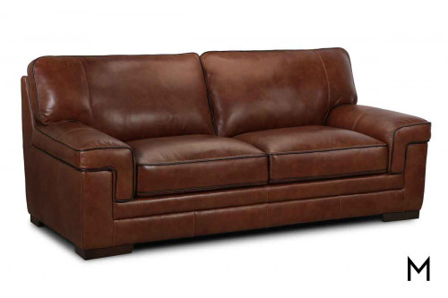 M Collection Stampede Leather Sofa in Chestnut