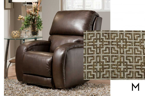 M Collection Fandango Swivel Recliner in Fudge Greek Key