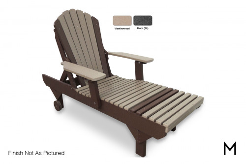 Adirondack Chaise Lounge Chair in Weatherwood and Black