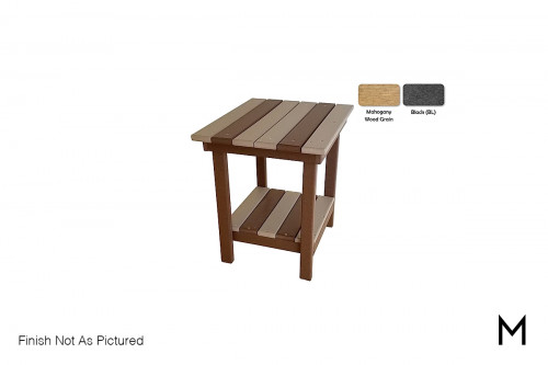 Outdoor End Table in Mahogany and Black