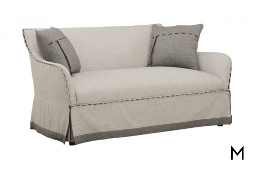 Stitched Hem Settee and Swivel Chair Suite