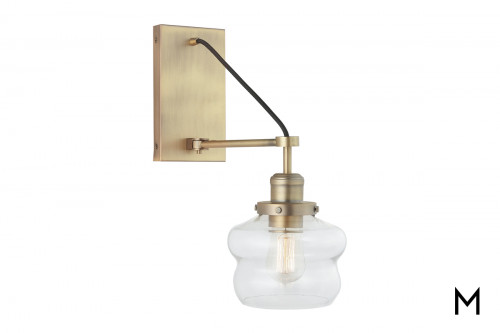 Brass Arm 1-Light Wall Sconce