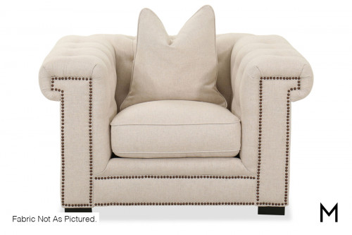 M Collection Contemporary Tufted Accent Chair with Nailhead Trim