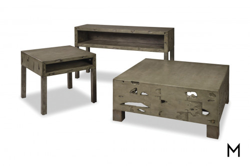 M Collection Rustic Weathered Cocktail Table