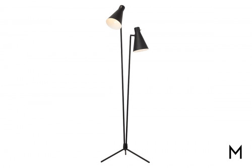 Black Floor Lamp with Two Fixtures