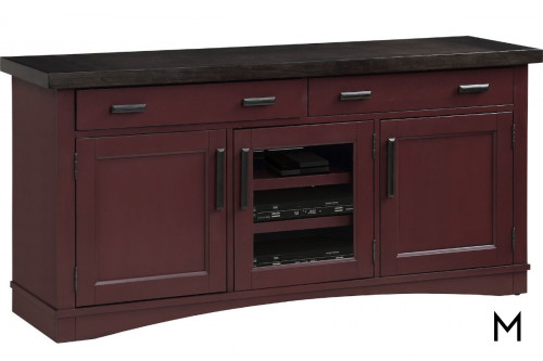"M Collection Americana Modern 63"" TV Stand Console with Cranberry Finish"