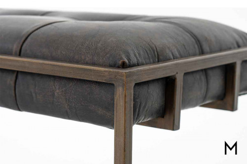 Oxford Tufted Leather Bench