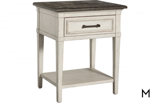 Wood Top Two-Tone Bedside Table
