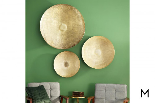 Metal Disc Wall Decor Set with Three Pieces