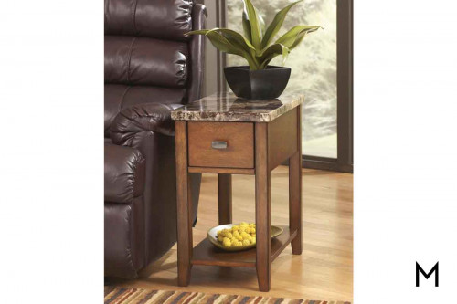 Breegin Chairside Table in Medium Brown with Faux Marble Top