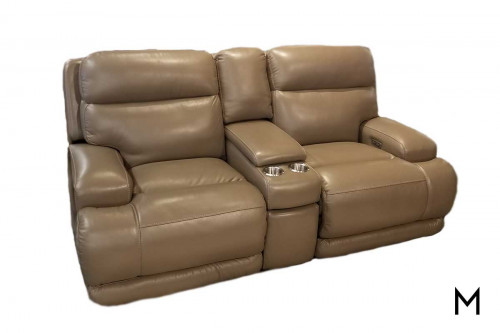 M Collection Caesar Power Headrest Loveseat with Console in Taupe