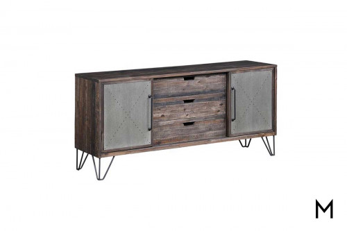 Raider Media Console in Vintage Gray and Brown