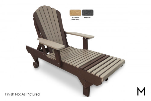 Adirondack Chaise Lounge Chair in Mahogany and Black