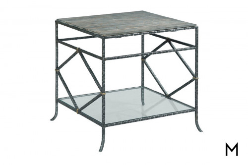 Industrial Diamond Lamp Table