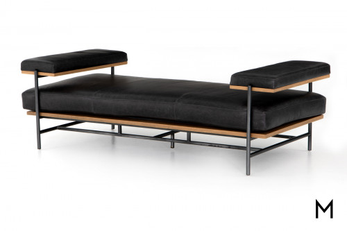 Leather and Steel Chaise Bench