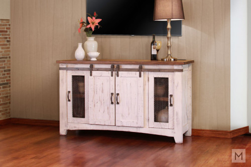 "Pueblo White 60"" TV Console with Sliding Barn Doors"