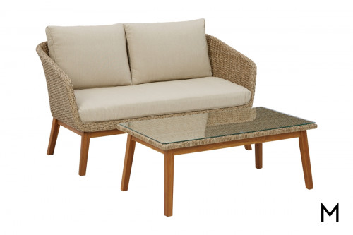 Patio Loveseat and Cocktail Table Set
