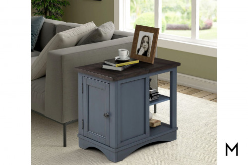 M Collection Americana Modern Chairside Table in Denim