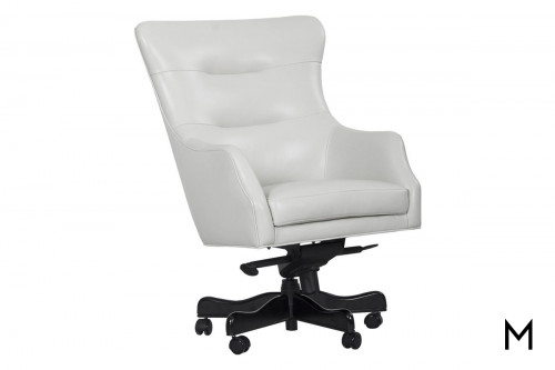 M Collection Executive White Leather Desk Chair