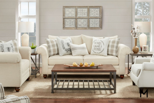 Cottage Farmhouse Sofa with French Bee and Home Sweet Home Pillows