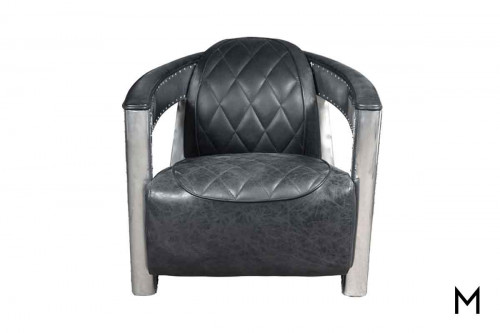 Toby Accent Chair with Quilted Leather and Metal Rivets