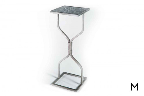 Hourglass Accent Table in Antique Silver