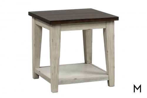 Lancaster End Table in Weathered Bark Top and White Base