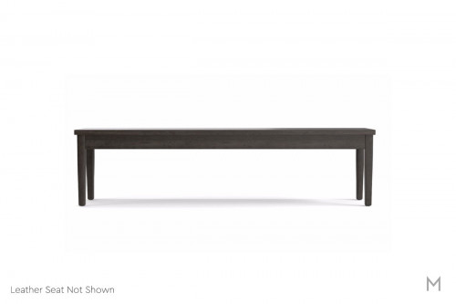 "Hearthside 70"" Bench in Truffle Leather and Graphite"
