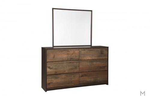 Windlore Dresser Mirror in Dark Brown with a Rustic Finish