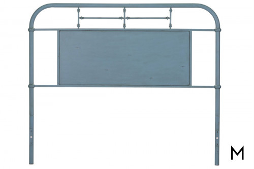 Vintage Metal Headboard - King in Blue