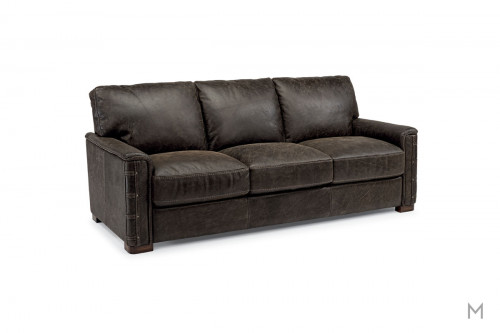Lomax Leather Sofa with Nailhead Details