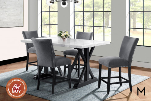 Marble Top Gathering Height Dining 5 Piece Set
