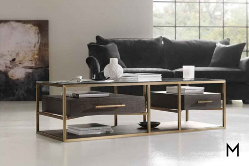 Curata Coffee Table with Brushed Brass Metal Details
