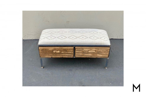 Narrow Padded Bench with Two Drawers
