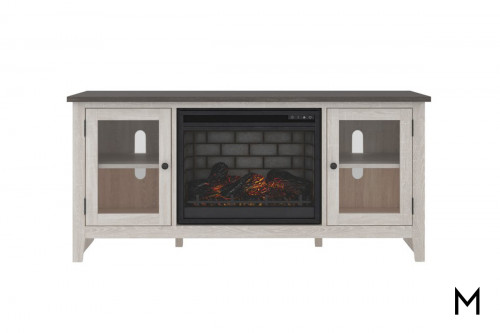 "Two Tone 60"" TV Stand with Fireplace"