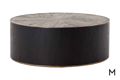 Perry Round Coffee Table featuring Two Tone Wood and Brass Details