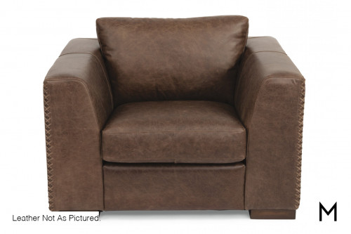 Leather Accent Chair in Light Brown