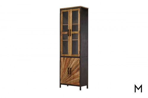 M Collection Left Pinwheel Construct Cabinet with Glass Doors